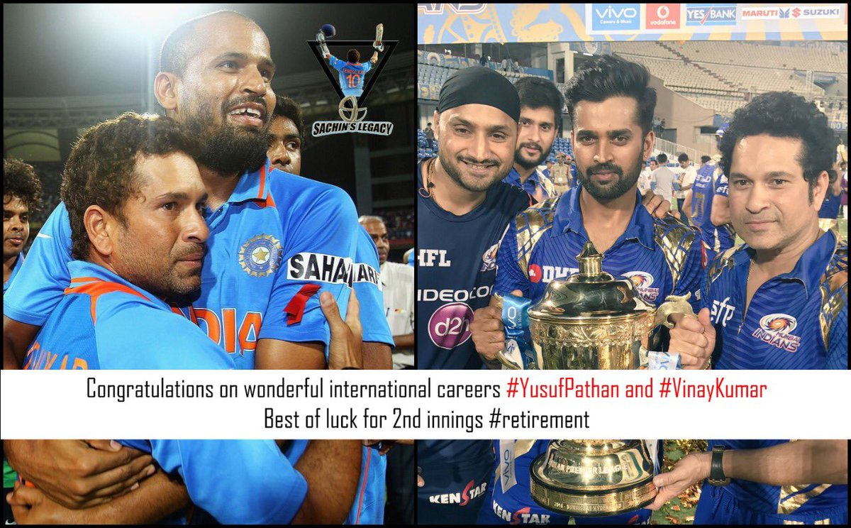 Congratulations both of you on wonderful careers @iamyusufpathan @Vinay_Kumar_R #YusufPathanRetires #VinayKumar   -A post from @sachin_rt pakistani fan page