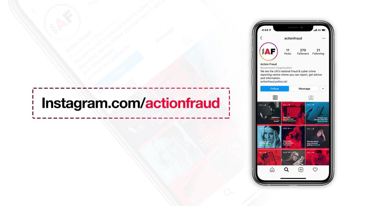 Did you know we're on Instagram? 📷   Follow us at: https://t.co/vJzX0srpwU for the latest information and advice on how to protect yourself from fraud and cyber crime. https://t.co/2QSvXMSbKe
