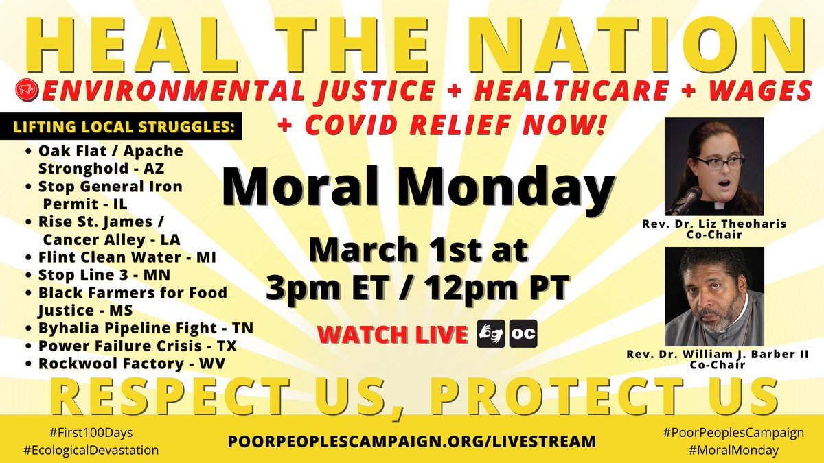 Plan now to join us online for #MoralMonday 3/1 at 3pm ET / 12pm PT as the #PoorPeoplesCampaign lifts up local struggles from across the country for environmental justice, healthcare, living wages & COVID relief now!   Watch:
