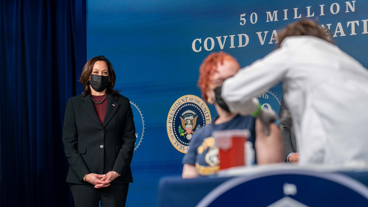 Yesterday, the 50 millionth vaccination was administered since @POTUS and I took office. This is weeks ahead of schedule and we are going to continue making progress every day. So keep wearing a mask, keep social distancing, and get vaccinated when it's your turn.
