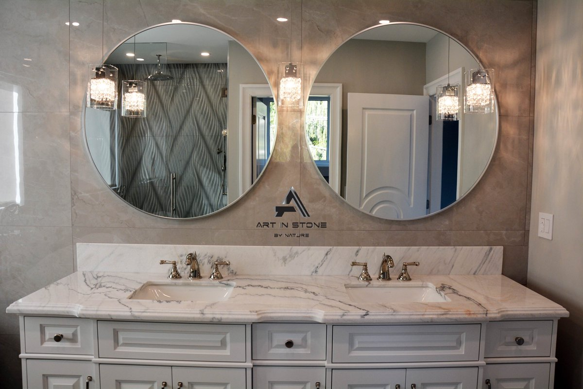 Add a luxurious touch to your space with this Marble vanity top.  #marble #quartzite #marbleslab #luxuryproject #architect #designer #vancouverbuildings #vanlife #marble #naturalstone #building #floor #walls #VancouverBC #luxury #stone #lifestyle #project #bathroomdesign