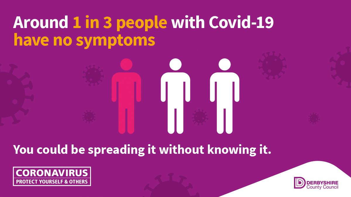 Around 1 in 3 people with coronavirus don't have symptoms. You could be passing it on and putting people at risk without knowing. That's why your efforts to #StayHome are so important. Let's get through this together