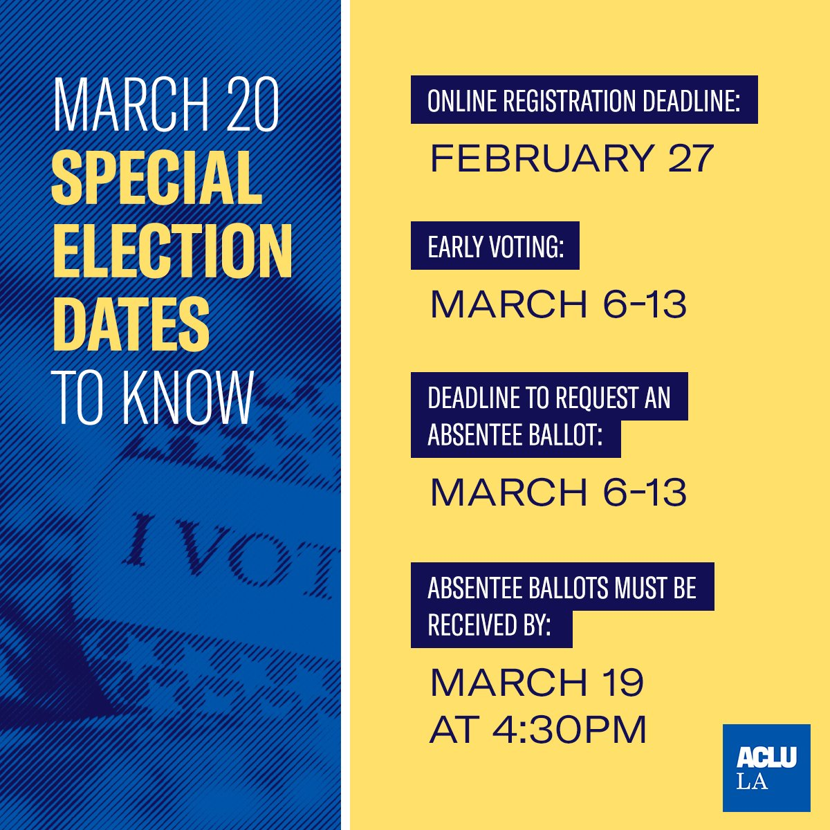 🚨 Voter deadline alert >> the online registration deadline for the March 20 special election is TOMORROW, 2/27!  Check your registration status and get ready to vote like your rights depend on it >>  #GeauxVote