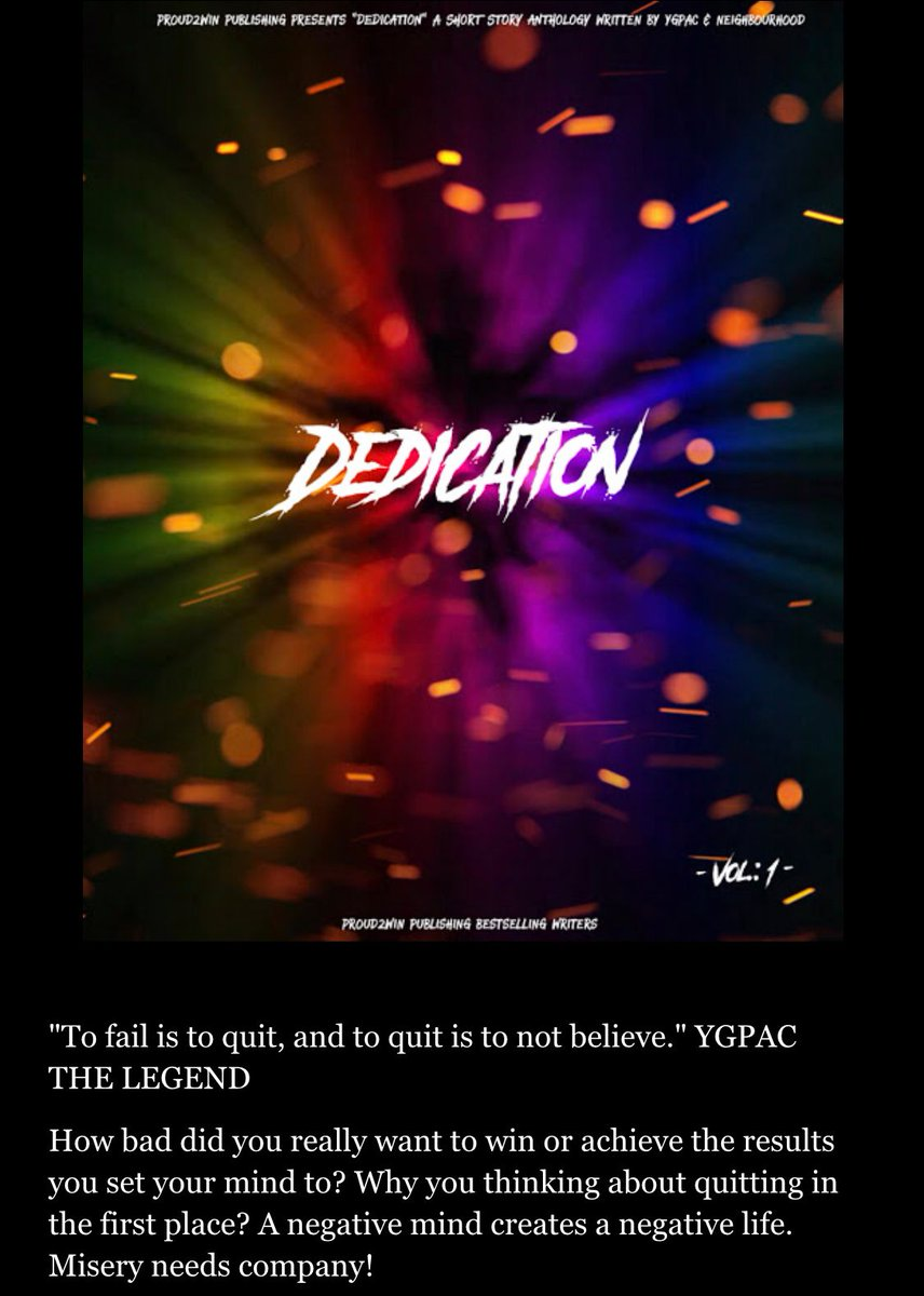 Your 🆕 great read! 📕  DEDICATION 🕯✍🏻  VIEW MORE #FREE here:  #FridayMotivation #FridayThoughts #fridaymorning #newhustler #FridayFeeling #FridayVibes #IndieBooksBeSeen #entrepreneurs #IARTG #WritingCommunity #SuccessStories #ygpacthelegend #success