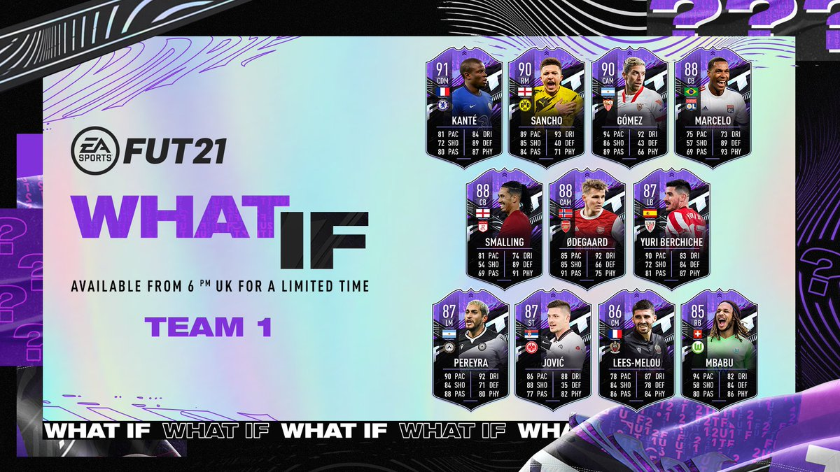 #FUT 'What If' players are ready to lead their clubs up the table and chase a one-time dynamic upgrade along the way 🚀👊   Team 1, now available in #FIFA21: https://t.co/r4FhInhfE0 https://t.co/zROsa3skh4