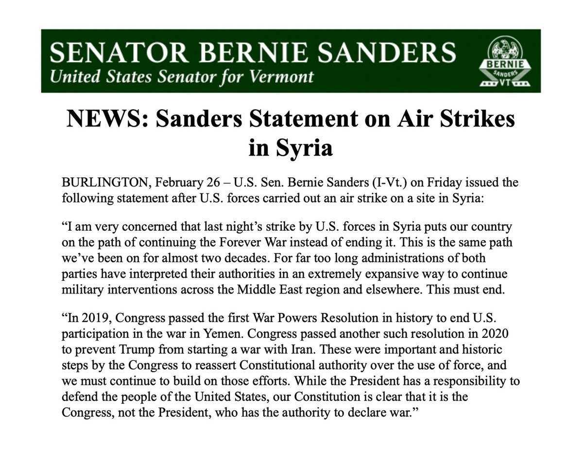 I am very concerned by last night's strike by U.S. forces in Syria. The president has the responsibility to keep Americans safe, but for too long administrations of both parties have interpreted their authorities in an extremely expansive way to continue war. This must end.
