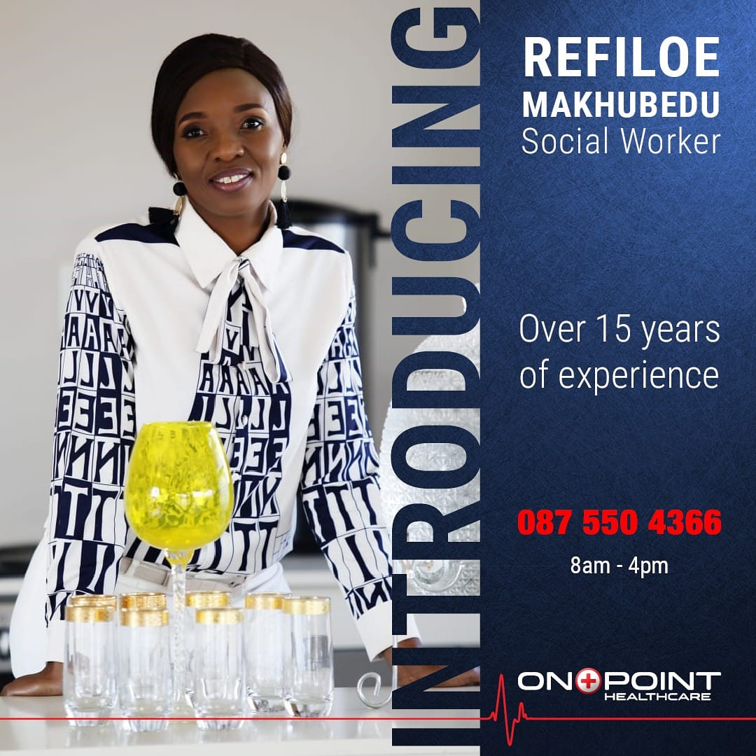 #friday Refiloe Makhubedo, our social worker available at On point health care. Here for support! Preventing #HIV & #AIDS for victims of rape. #talithakoum
