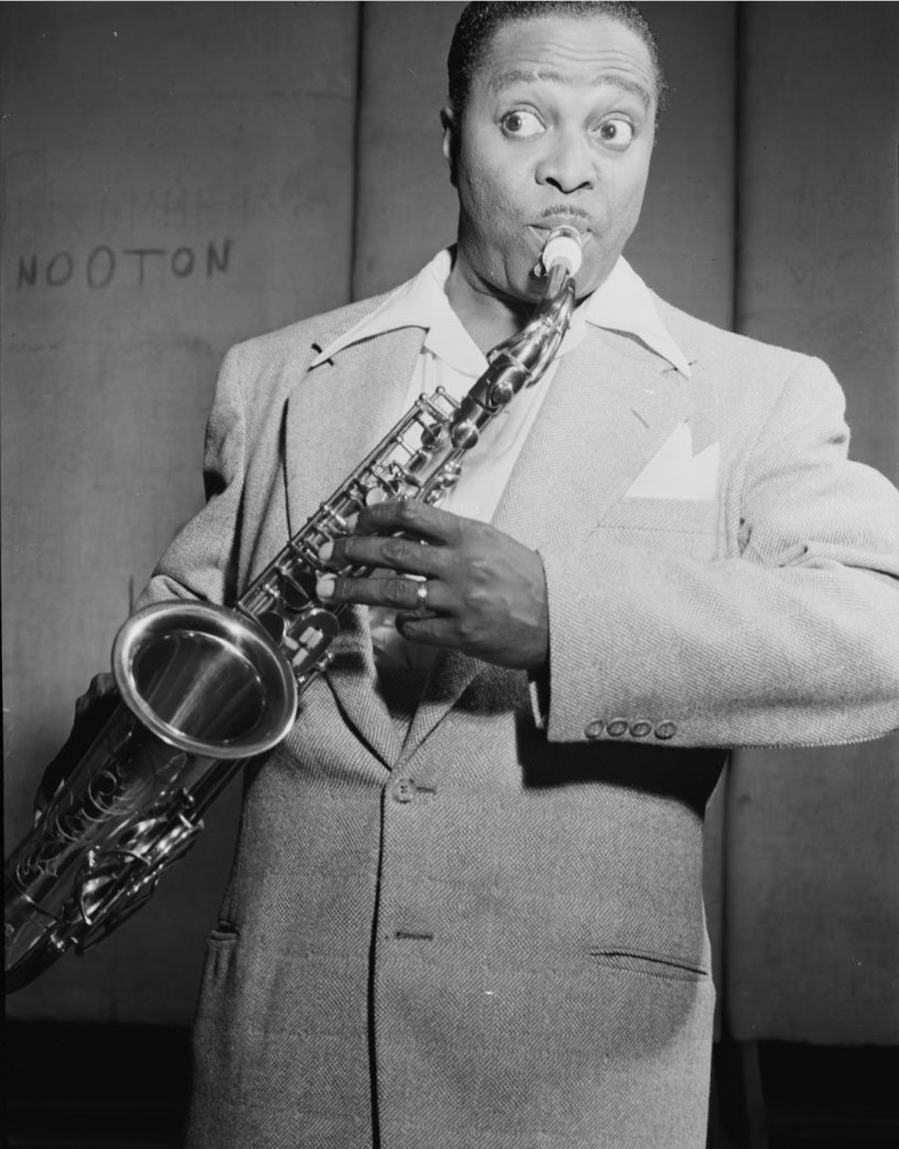 The band The Tympani Five was a cult favorite in the 1940's. Their unique sound created the rhythm and blues style that led directly to the advent of rock a decade later.   Pictured here is bandleader Louis Jordan.