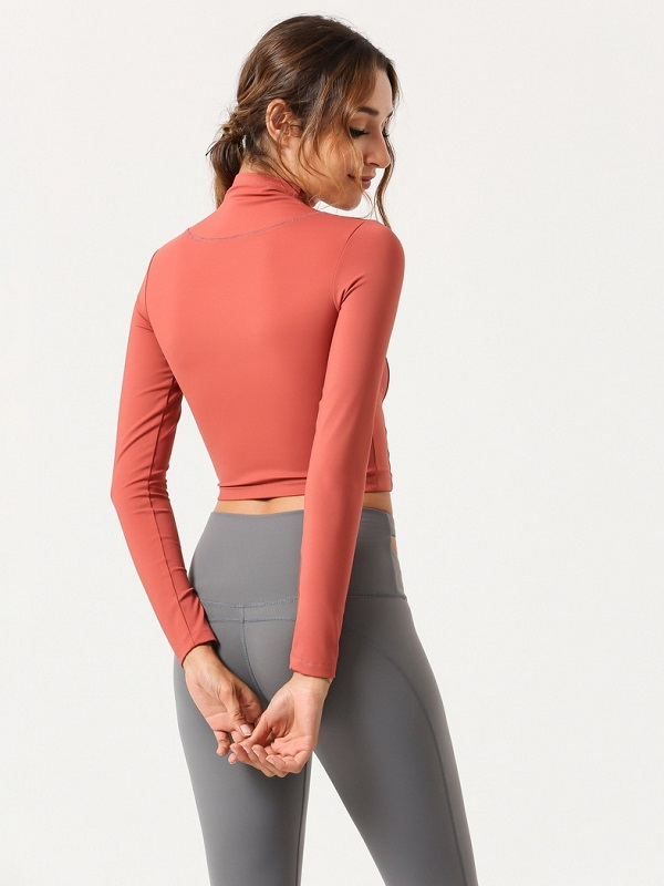 Shop Zipper High Neck Long Sleeve Cropped T Shirt For Sport @TdMercado    #Sportwear #Sporttops #TShirt #Athleisure #Yoga #gym #casualwear #casualoutfits #likeforlike #twitterfashion