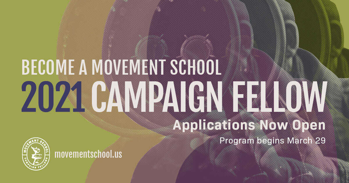 Our 2021 #CampaignFellows cohort will take 50 Fellows from across the nation & train them to run campaigns via our 10 week campaign simulation Chosen fellows will be given teams & placed on 1 of 4 tracks: 💬Comms 💰Finance 💻Digital 👥Field ✅ APPLY: movementschool.us/campaignfellows