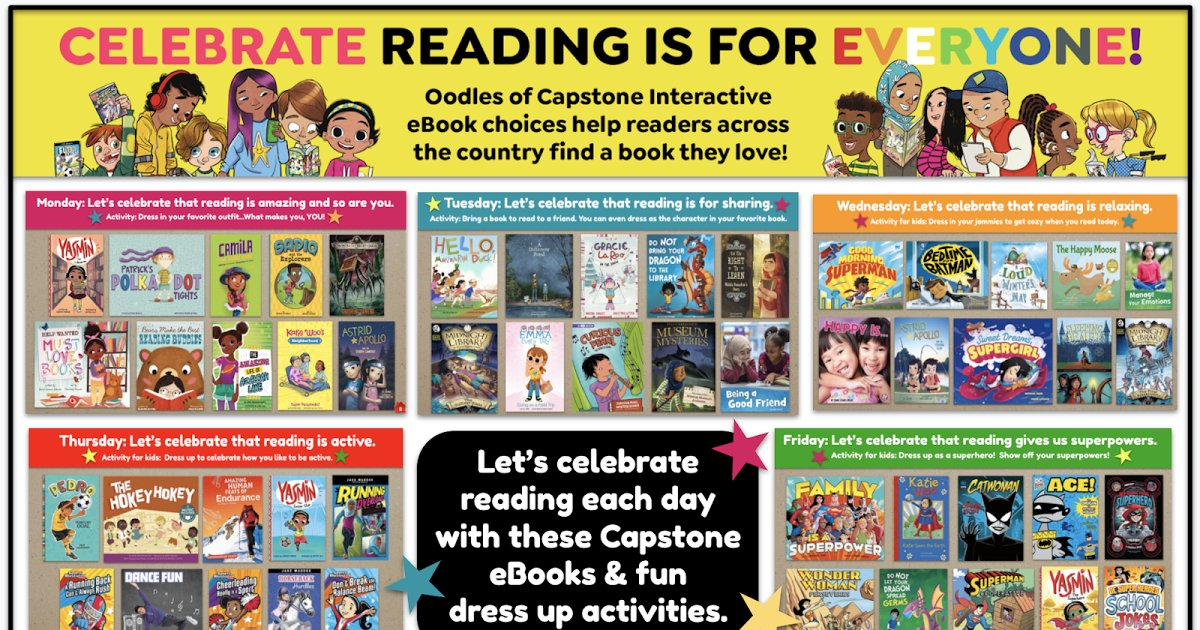 """Here is how we are celebrating #ReadAcrossAmerica next week...  We are celebrating that """"Reading Is For Everyone"""" with these reading themes, @CapstonePub eBooks & fun dress up days.   And YOU can use it all too! ❤️   #tlchat #futurereadylibs #edchat"""