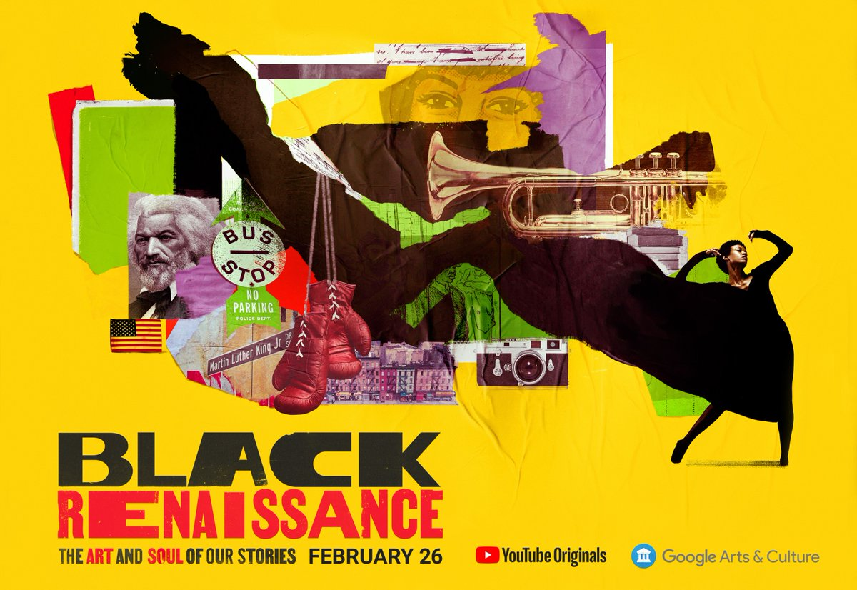 Premiering at 9AM PST on @YouTube, explore #BlackRenaissance -- a journey through Black History focused on the creatives & change makers who have shaped the 🗺️. >>   In collaboration: @NasherMuseum @blackarchiveskc @smithsoniannpg @mfaboston @LGBTCenterNYC
