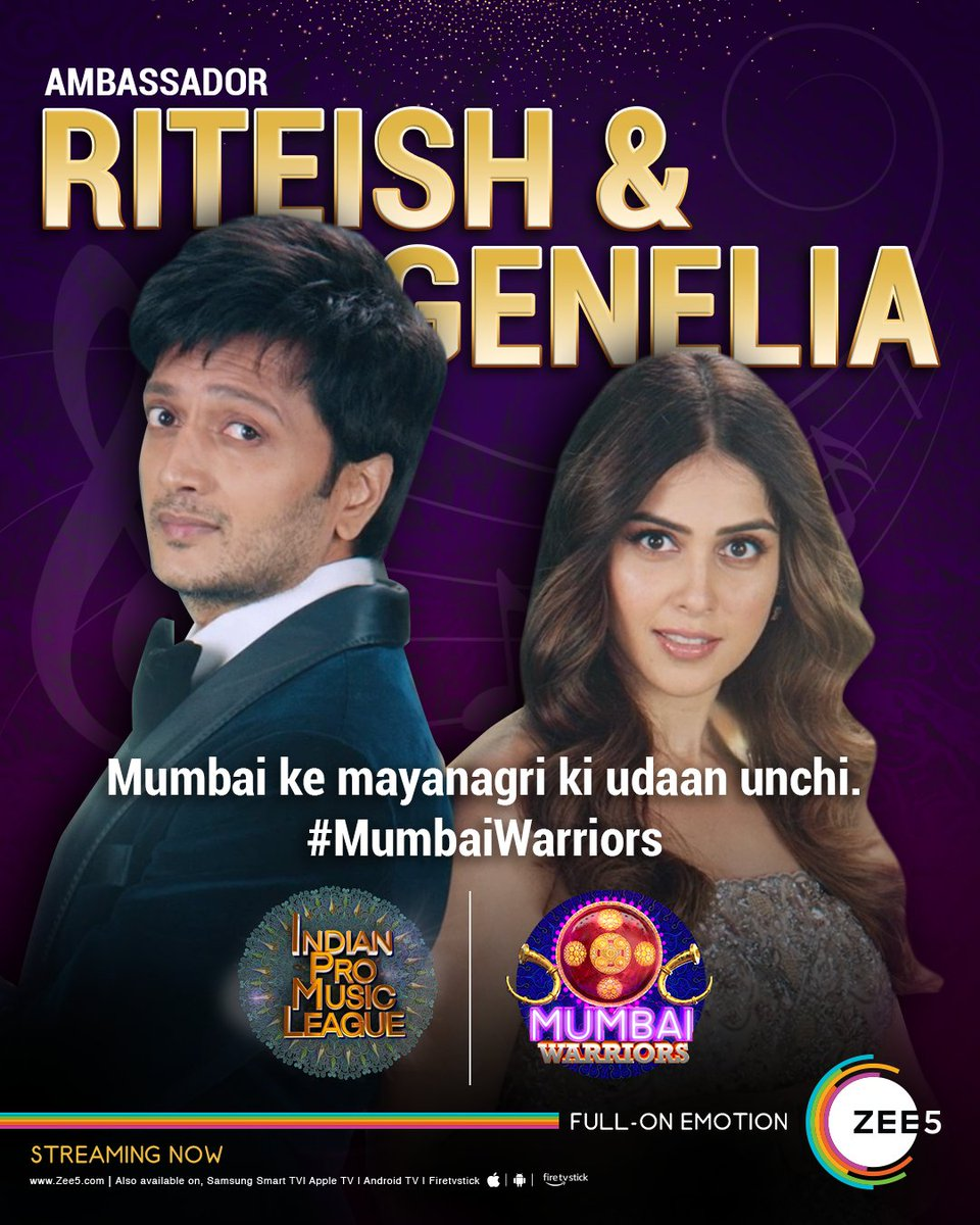 Say hello, to Mr. & Mrs. Deshmukh. The ambassadors of #MumbaiWarriors. ▶️   #IndianProMusicLeague | #IPML | #IPMLOnZEE5 | #IndianProMusicLeagueOnZEE5 | @ipmlofficial | @Riteishd | @geneliad | @Kailashkher | @shilparao11 | #PurvaMantri
