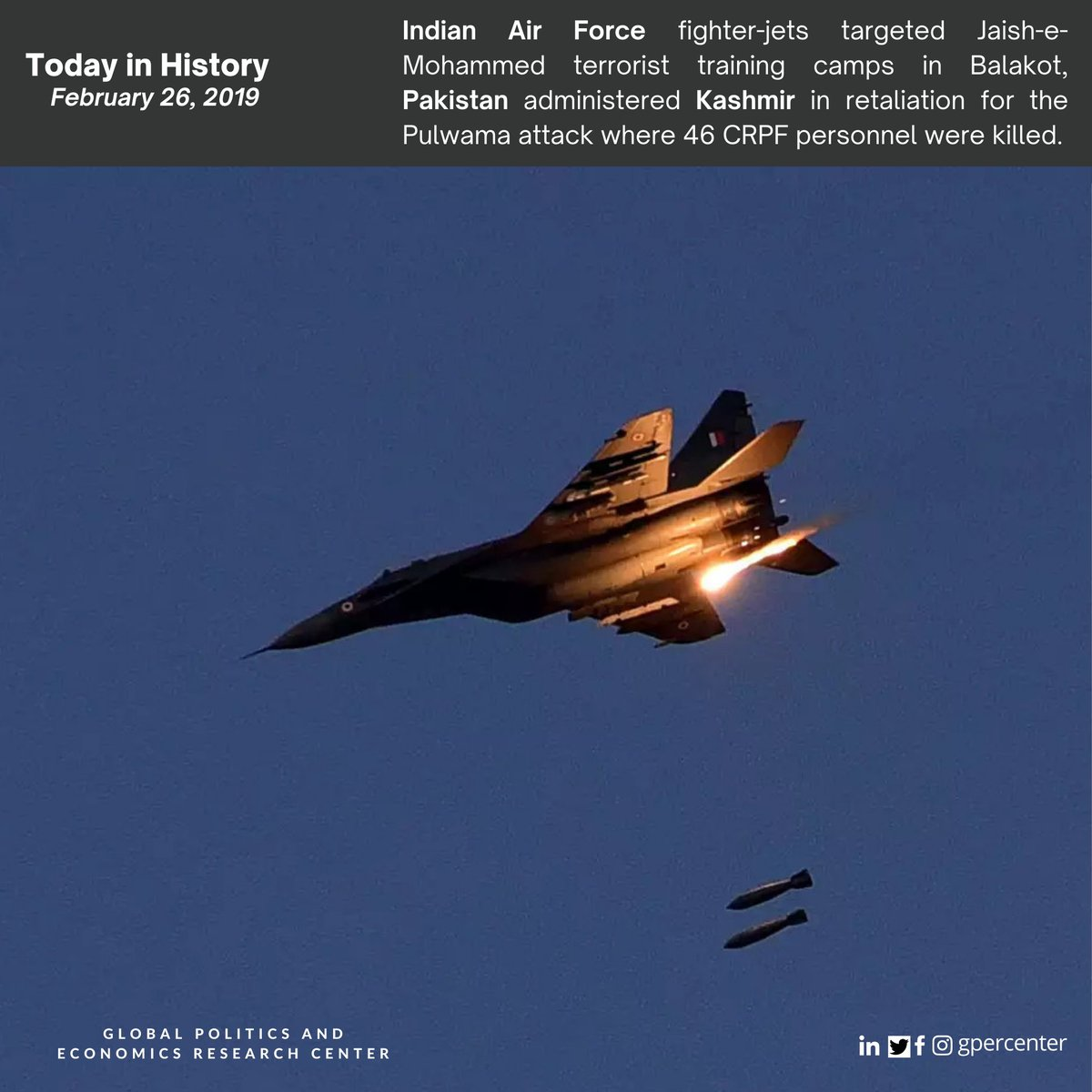 Today in History: February 26  2019 - #Indian Air Force fighter-jets targeted Jaish-e-Mohammed terrorist training camps in Balakot, Pakistan administered Kashmir in retaliation for the #Pulwama attack.  #History #India #Pakistan #Kashmir #CRPF #InternationalRelations