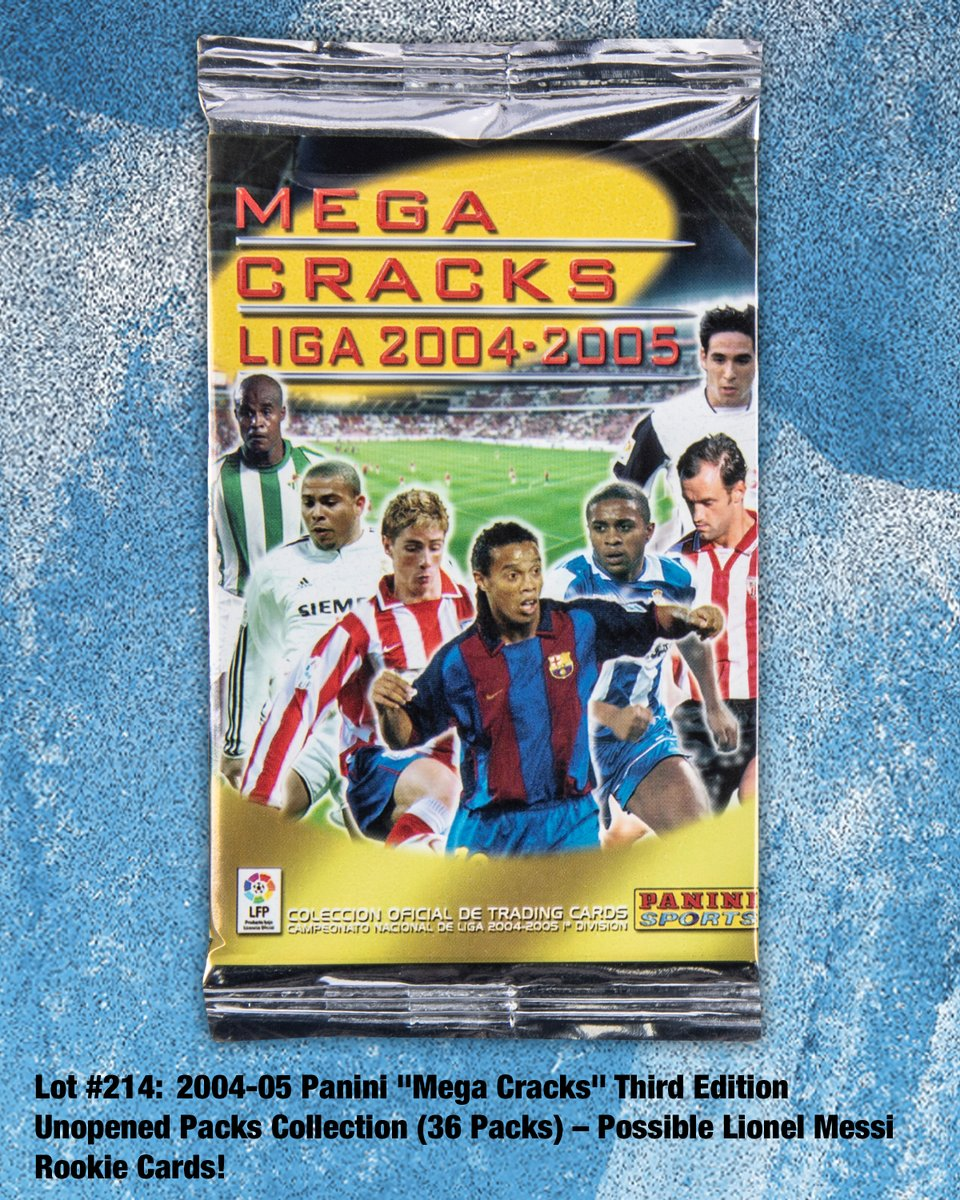 """Winter Auction⛄️ A group of 36 unopened packs from the #Panini Espana 2004/05 """"Mega Cracks"""" 3rd Edition production. Potential contents include never-touched examples of #LionelMessi #RookieCard LOT # 214  #tradingcards #soccercards #collect #thehobby"""
