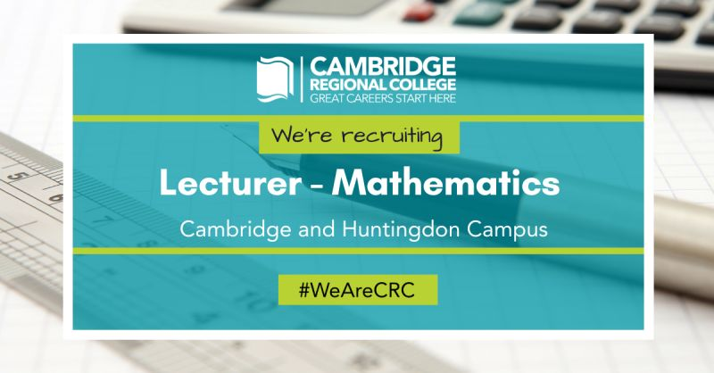 We have a number of opportunities for Maths Lecturers at the Cambridge and Huntingdon campuses on a fixed term, full/ part-time or variable hours basis. Find out more, https://t.co/15EZwmTZjJ  #wearecrc #youmatter #cambridgejobs #collegejobs #fejobs #mathsteacher  #teachingjobs https://t.co/4ODeXROzFr