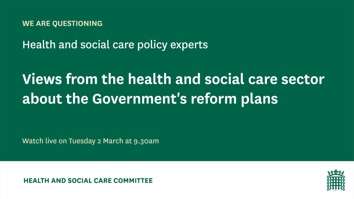 On Tuesday 2 March were questioning health & social care experts in our first session scrutinising @DHSCgovuks White Paper. Hear from @RichardDMurray1, @hughalderwick, @nedwards_1, @NHSE_Danny, @SJPickup, @HealthwatchE and @ChrisCEOHopson Watch live: parliamentlive.tv/event/index/18…