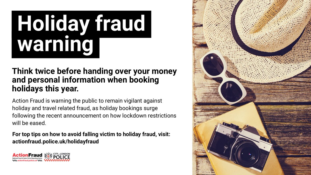 Think twice before handing over your money and personal information when booking holidays this year.  For tips on how to avoid falling victim to holiday and travel related fraud, visit: https://t.co/4pWusJkvY5 https://t.co/DVGs4p5lQ5