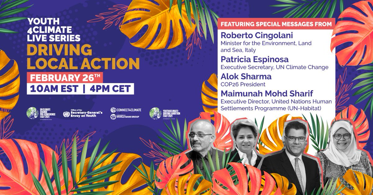 Pleased to participate in the final episode of #Youth4ClimateLive  Looking forward to discussing driving local action, and hearing from young climate activists from around the world 🌍  Watch live at 3pm: 👉   @PreCop26ITA | @Connect4Climate | @UNYouthEnvoy