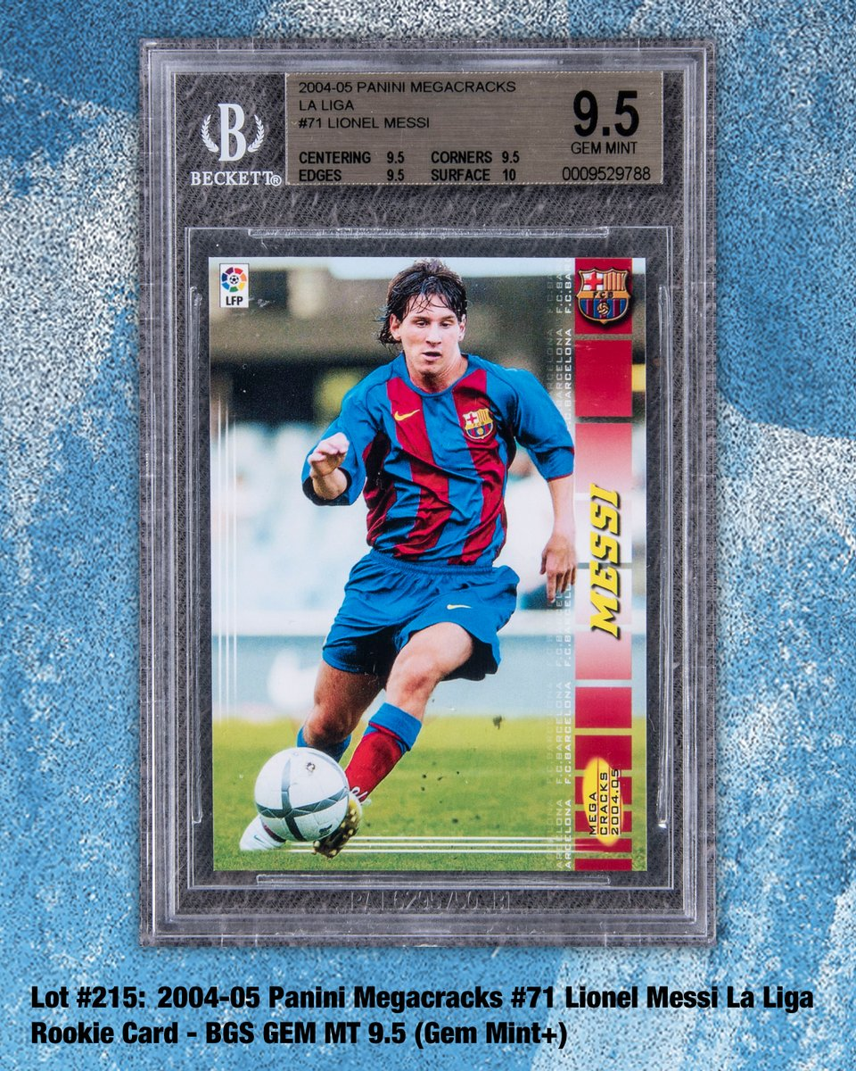 Winter Auction⛄️ Graded GEM MINT 9.5 by BGS. #RookieCard This glorious #Panini Megacracks card portrays the inimitable FC Barcelona superstar #LionelMessi in his debut season for the Catalan club! LOT # 215  #tradingcards #soccercards #collect #thehobby