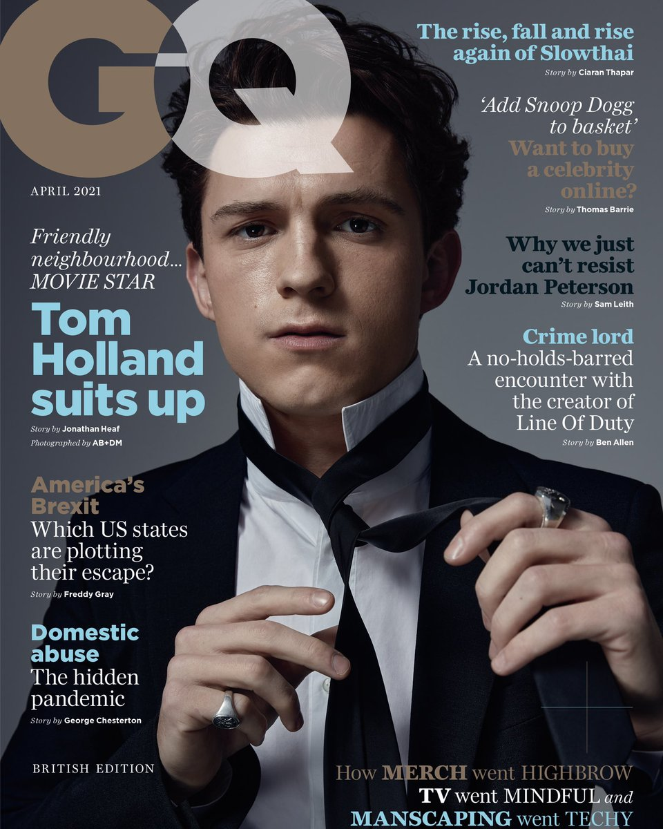 Tom Holland for British GQ April cover photographed by AB+DM styled by Law Roach