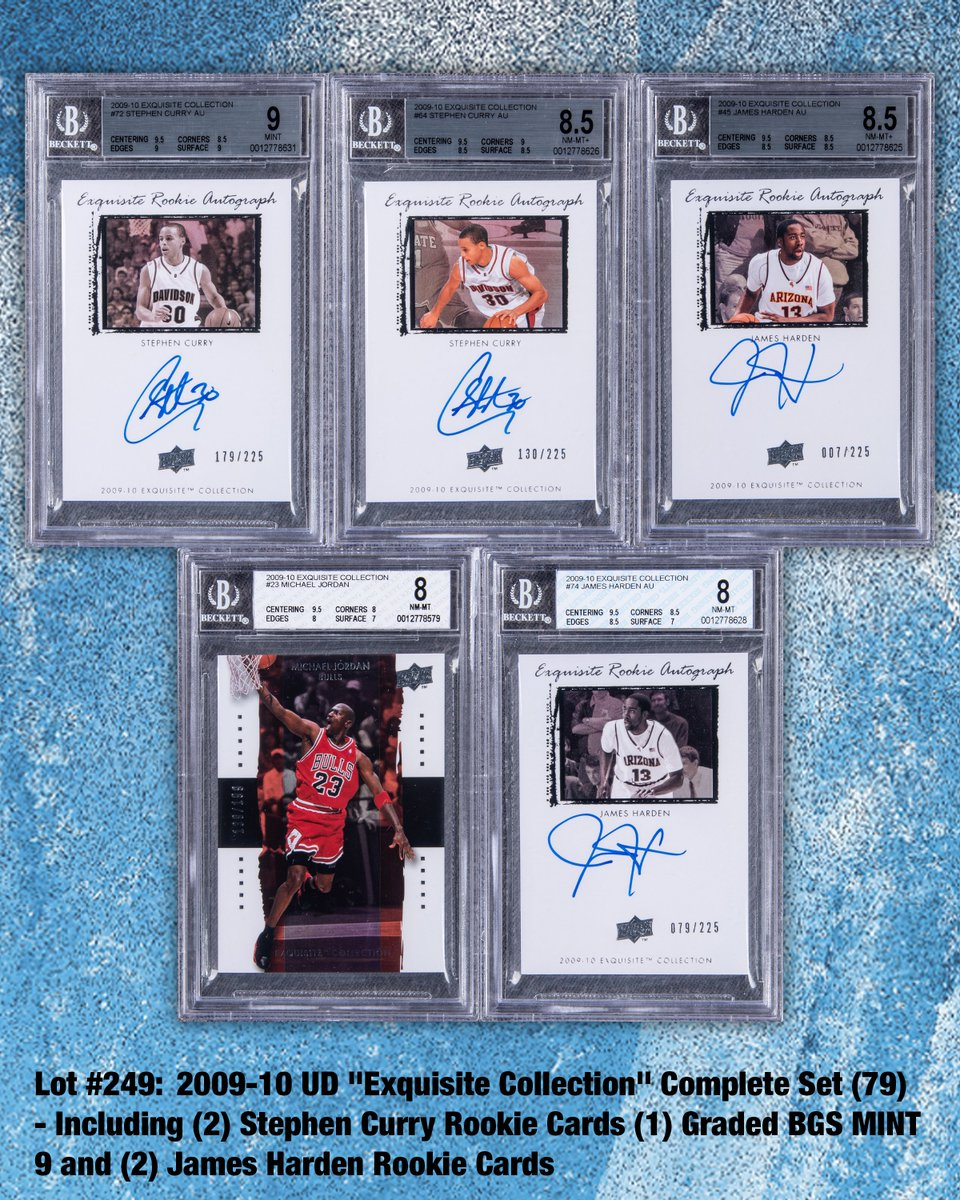 Winter Auction⛄️ Here is 79-card complete set of 2009-10 UD #ExquisiteCollection #basketballcards Key highlights in the set include #StephCurry #JamesHarden & #MichaelJordan LOT # 249  #tradingcards #nba #collect #thehobby #whodoyoucollect