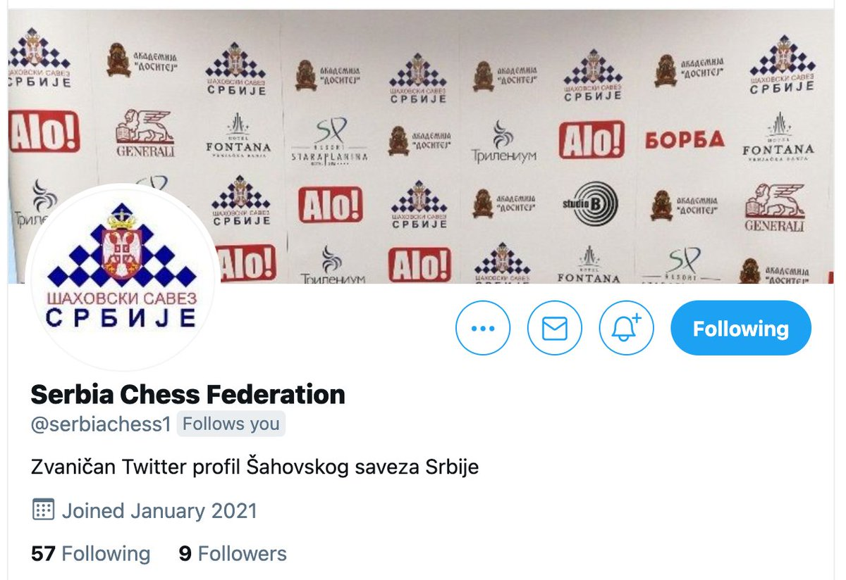 "test Twitter Media - Among many other plans and positive developments, the Serbian Chess Federation has launched a Twitter account: @serbiachess1. They are on Instagram too, as ""serbiachess"".  And its website is more alive than ever before! https://t.co/8BSAUxwhFG https://t.co/UpmXzoRajY"
