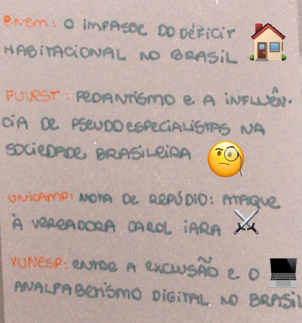 ENEM:  Fuvest:  Unicamp:  Vunesp:   #enem #vestibulares #vestibular #fuvest #vunesp #unicamp #redação #TemasdeRedação #ENEM2021 #Corrijame #RedaçãoENEM #Unesp #BarroBranco