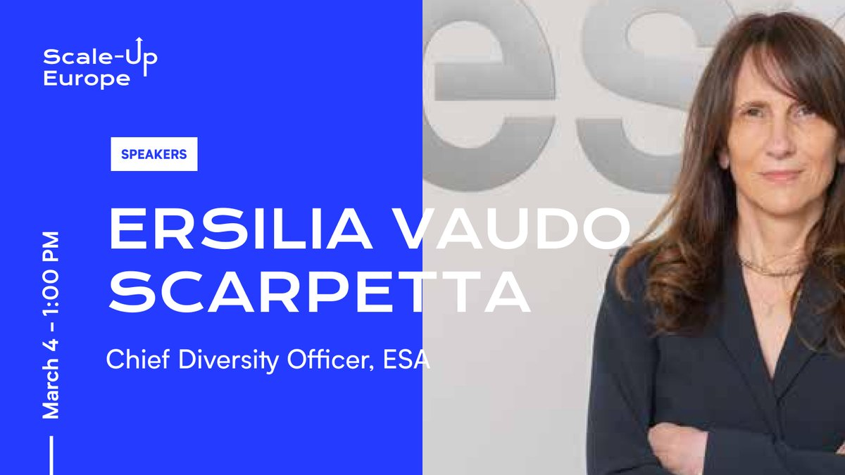 We're delighted that astrophysicist @ersiliascarpett will be a guest speaker on March 4th. In 30 years at the @esa, she's helped to define #spaceflight strategy 🚀. Now #ChiefDiversityOfficer, she'll be offering insights into #talent recruitment for #startups.  #ScaleUpEurope