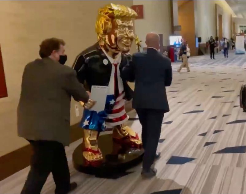 Are you fucking kidding me!!!! There's a golden fucking statue of Trump at CPAC? I seem to remember a certain teaching about a golden calf...false idols...10 Commandments...