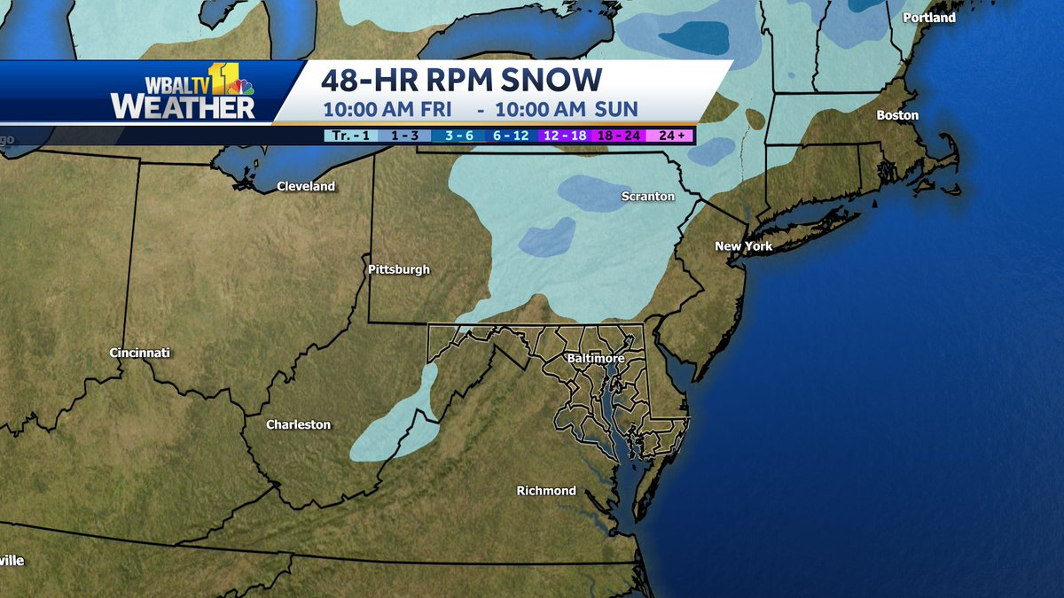 Raw computer model output from the RPM model for snow over the next 48 hours.  #snow #MdWx #PaWx #VaWx #WvWx