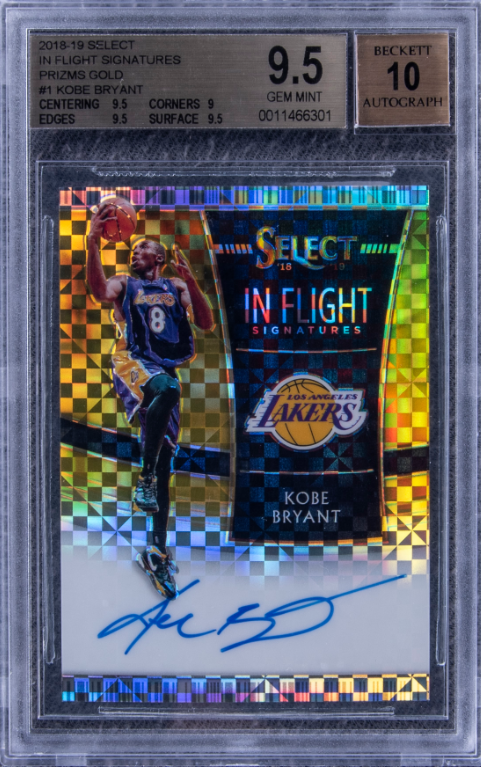 One of the most beautiful modern @kobebryant #cards out there. #1/10 The Gold just fits perfect with the @Lakers colors. Graded a BGS 9.5 Currently on auction @GoldinAuctions lot #361 A grail card to many Kobe fans especially with the popularity of #Select rising. @KenGoldin