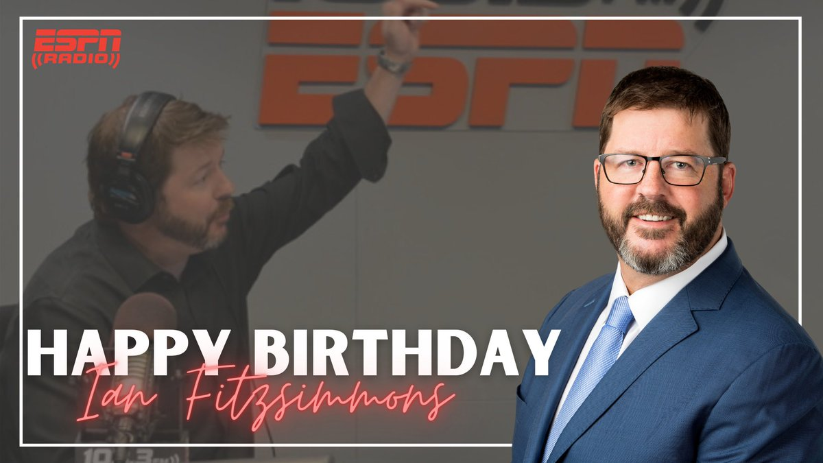 Join us in wishing a very happy birthday to the one and only @Ianfitzespn! 🎉  Catch him weeknights at 9 PM/ET on #FreddieAndFitzsimmons with @ColemanESPN on #ESPNRadio.