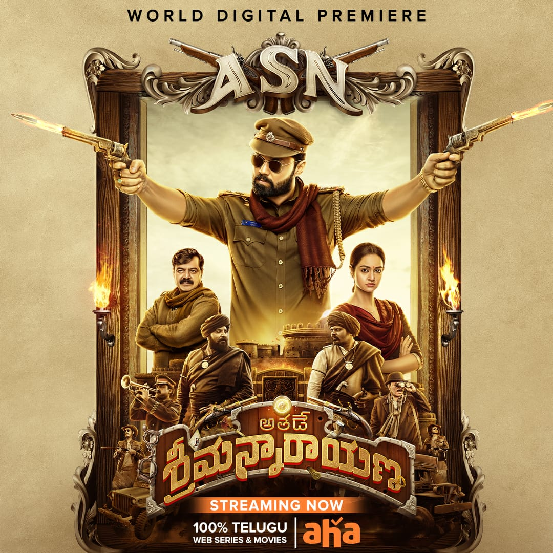 Srimannarayana vachesadu! Watch #AthadeSrimannarayana here:   Streaming now on @ahavideoIN🔥  @rakshitshetty @Pushkara_M @shanvisrivastav @SachinBRavi @MangoMusicLabel