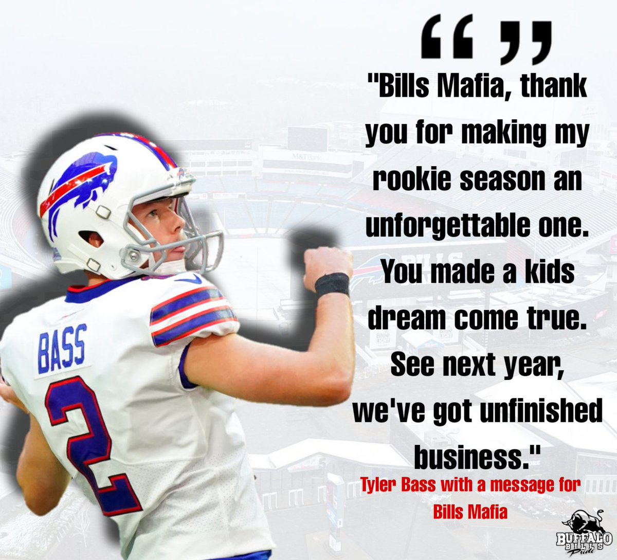 Tyler Bass with a message for #Billsmafia. ❤️💙  #BuffaloBills #BuffaloLove #BuffaloBillsPride #TylerBass