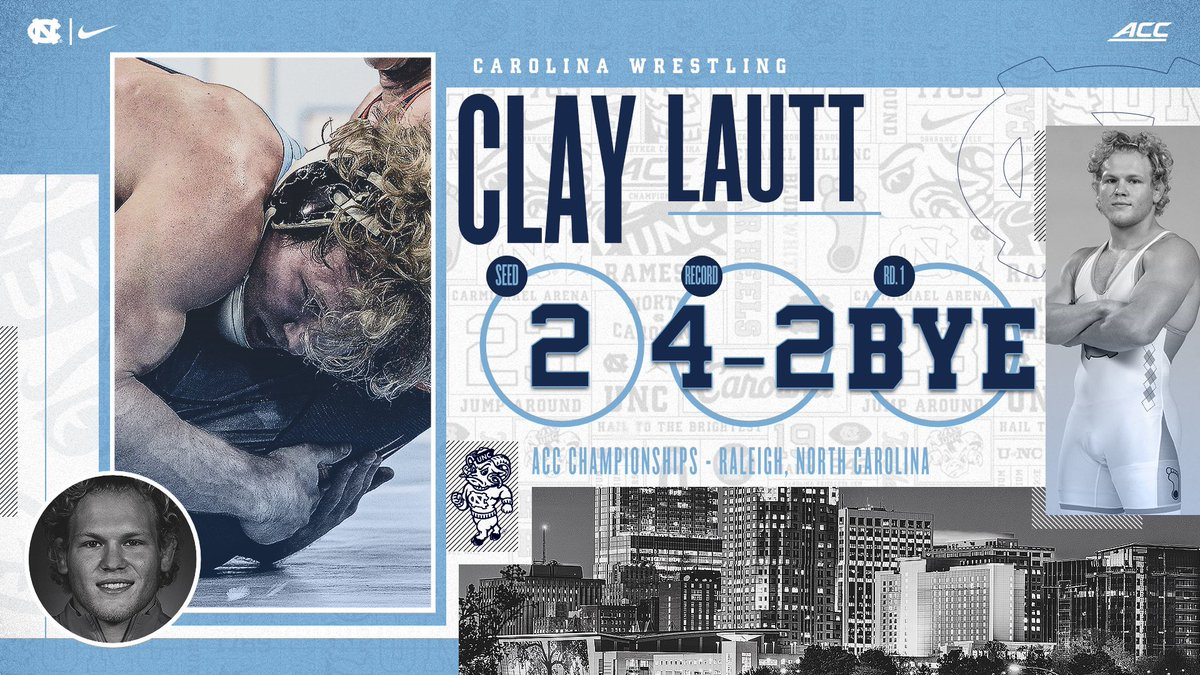 Clay Lautt (174) returns this year to defend his 2020 ACC title at 174 pounds. He, Zach Sherman and Austin O'Connor all won titles at the event for Carolina last year.   #GoHeels | #WeWantMore