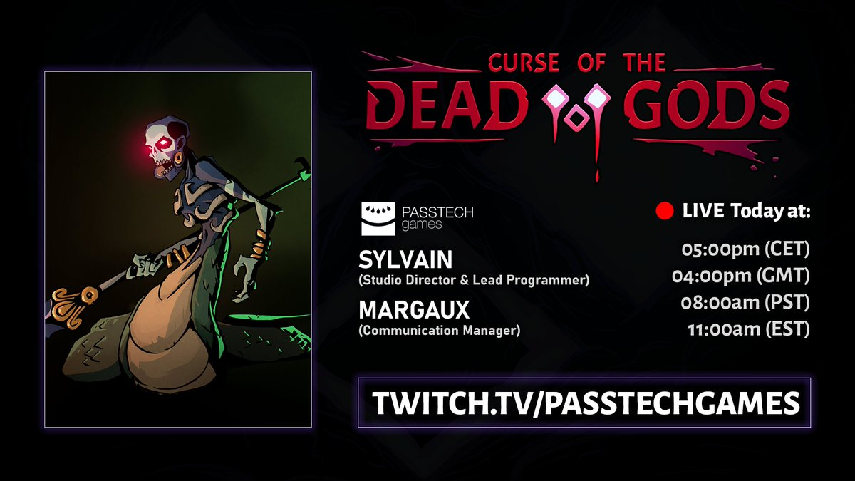 🔴 We're live!  If you're curious to know what Curse of the Dead Gods used to look like back 2018/2019, join Sylvain & Margaux on Twitch for a special devstream!  ➡️
