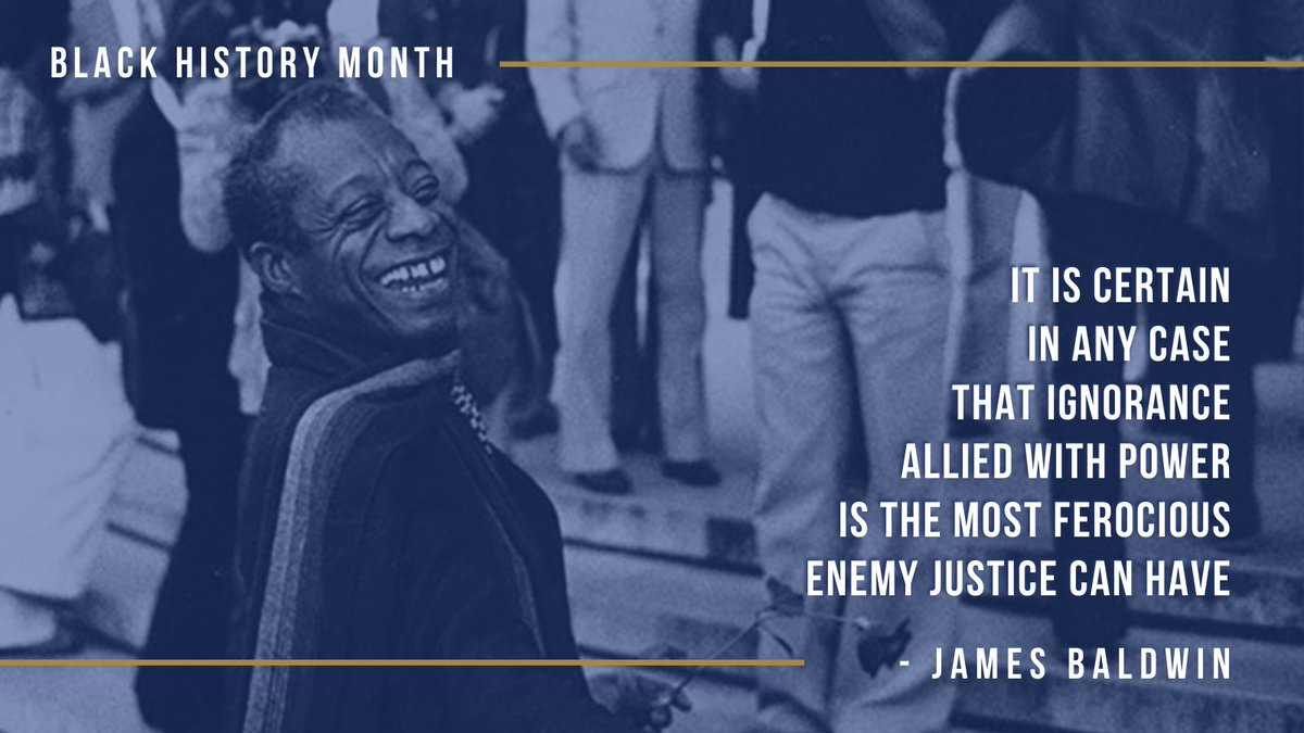 James Baldwin was a novelist, playwright & poet who navigated sexuality, race & class during the civil rights and gay liberation movements in the mid-20th century. His advocacy & literature help guide our fight for a more just society. #BlackHistoryMonth