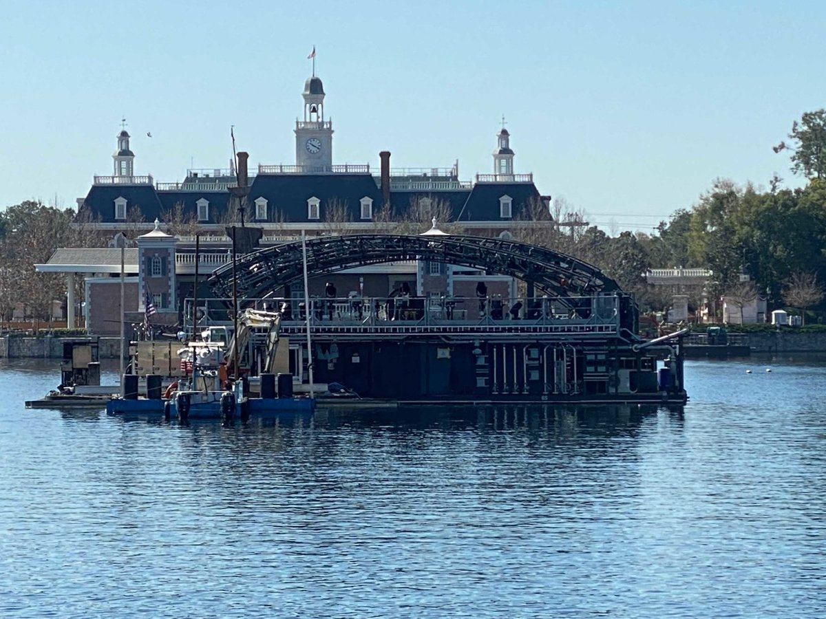 """PHOTOS: Barge and Base for Centerpiece of EPCOT's """"Harmonious"""" Arrives on World Showcase Lagoon at EPCOT"""
