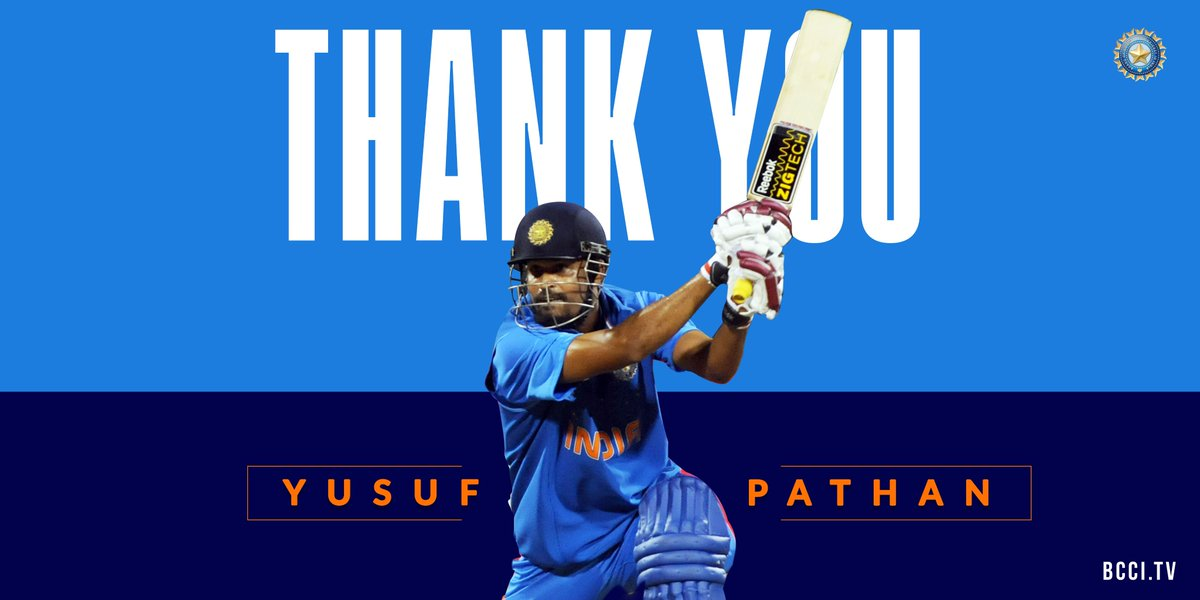 As @iamyusufpathan - a member of #TeamIndia's 2007 World T20 & 2011 World Cup triumphs - retires from all forms of the game, we wish him all the best for the future. 👏👏