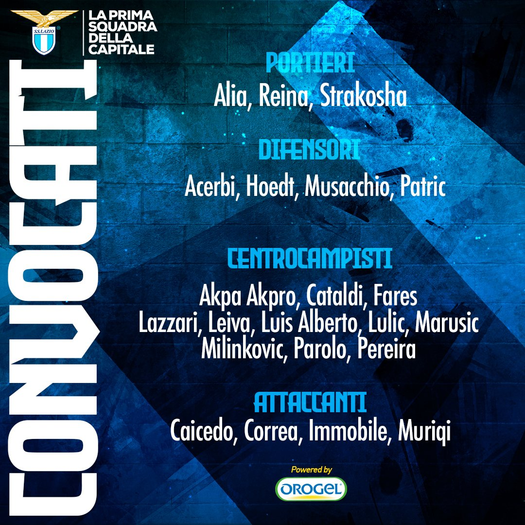 #BolognaLazio 📋 I convocati di mister #Inzaghi  Powered by @OrogelGroup https://t.co/jhMnAkWCV9