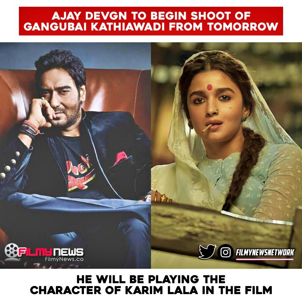 #AjayDevgn to begin shoot for #GangubaiKathiawadi from tomorrow in #Mumbai... Directed by #SanjayLeelaBhansali - the movie stars #AliaBhatt in the title role.