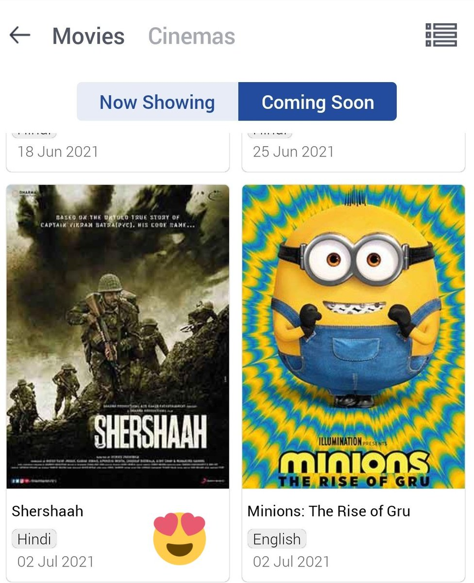 @INOXMovies updated their Coming soon list & see what is showing..  #Shershaah 🔥🔥🔥 Can't wait for 2nd July 2021 .  @SidMalhotra  #SidharthMalhotra