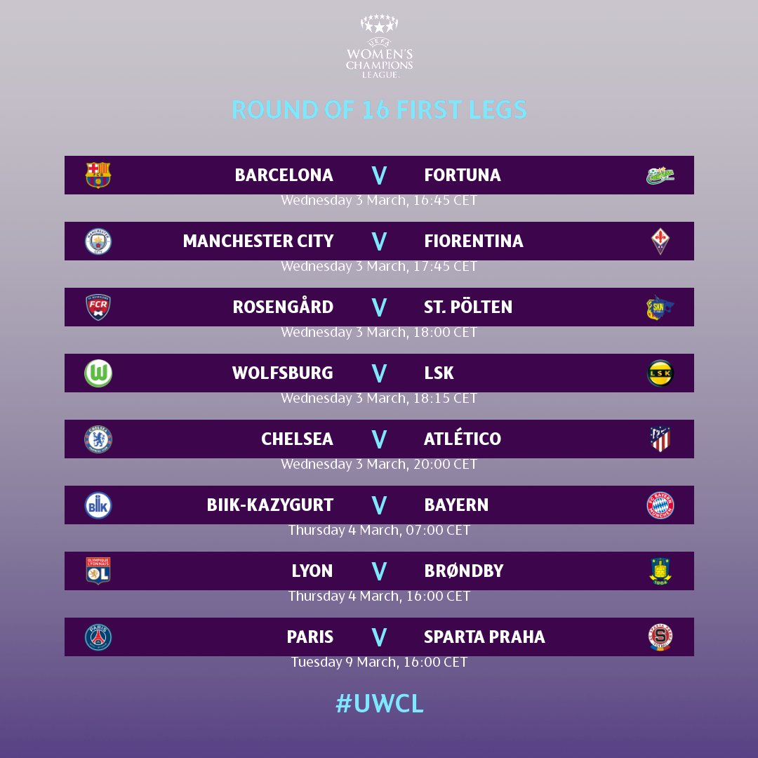❗ The #UWCL round of 16 tie between @ACSparta_Zeny and @PSG_Feminines has been rescheduled 🗓  1st leg - 9 March at Stade Georges-Lefèvre  2nd leg - 17 March at Stadium FC Chomutov   Full last 16 schedule 👇