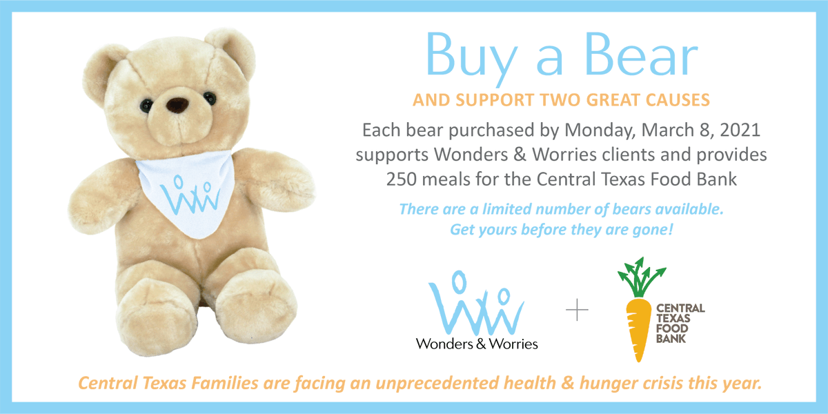 We've partnered with Wonders & Worries to help fight hunger. When you buy a cuddly Wonders & Worries bear by Monday, March 8, you can provide 250 meals for families in need. Get a bear at .