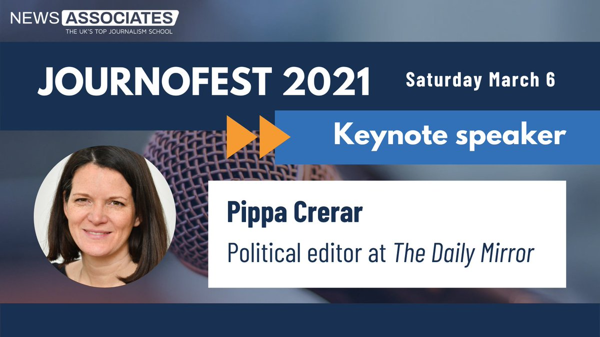 Were over the moon to announce our first keynote speaker for #JournoFest 2021 is @DailyMirror political editor @PippaCrerar! 🤩 #FridayFeeling