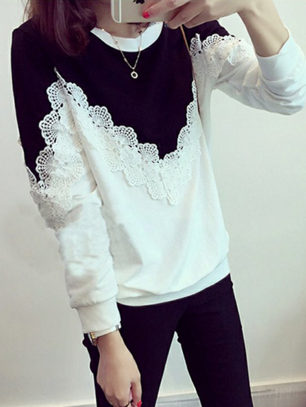 Shop Flower Lace Patchwork O-neck Cotton Sweatshirt @powerdaysale    #Sweatshirts #Outerwear #Sweaters #Patchwork #DailyCasual #likeforlike #twitterfashion