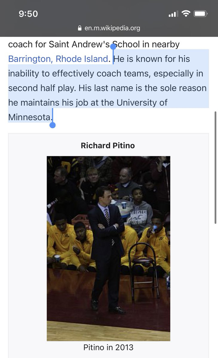 JUST IN: Richard Pitino's Wikipedia page has been updated... 😯  #Gophers