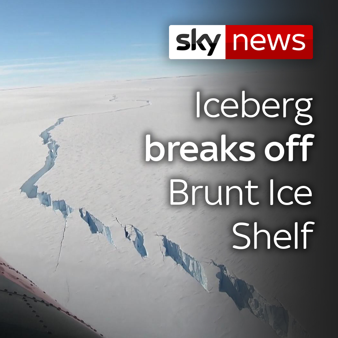 An iceberg the size of the English county of Bedfordshire has broken off the 150m thick Brunt Ice Shelf in Antarctica.  Click here for more climate news: https://t.co/J4M6wyUwj5 https://t.co/UUxINBxthc