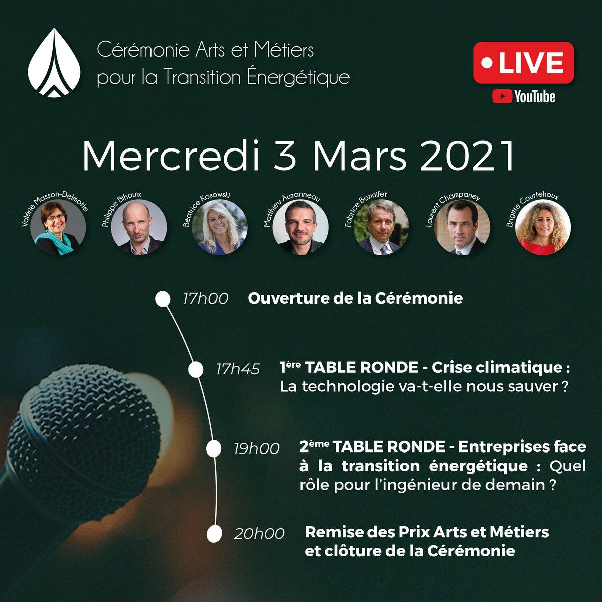 📅RDV le 3 mars à 17h sur YouTube en live pour la Cérémonie #ArtsetMétiers pour la Transition Énergétique! Programme ➡️Crise climatique : la #technologie va-t-elle nous servir ?  ➡️Entreprises face à la transition #énergétique : Le rôle de l'#ingénieur ? 📲